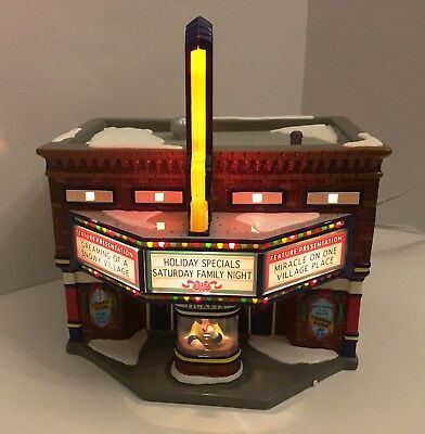 Department 56 Snow Village CINEMA 56 Movie Theater 56.54978 Lights Up WITH BOX