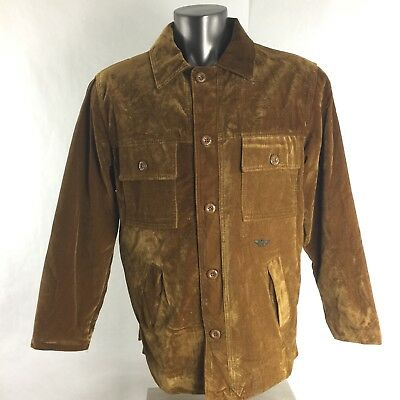 RGA Reportage Mens XL Button Down  Front Jacket Coat Golden Velvet Made in Italy