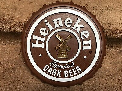 "Vintage Heineken Special Dark Beer Bar Sign Plastic Bottle Cap 16"" 1980's"