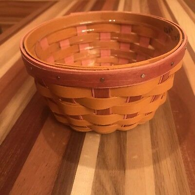 Longaberger 2012 Small Round Orange And Red Weave Basket