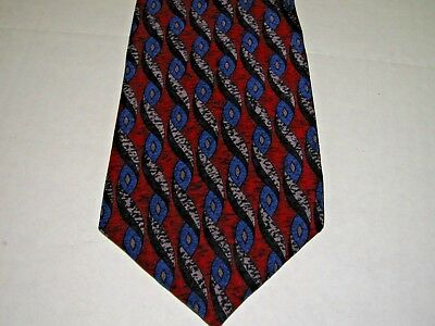 """Cocktail Collection Red Blue Geometric Silk Necktie Tie 3 3/4"""" wide  x 57"""" long"""