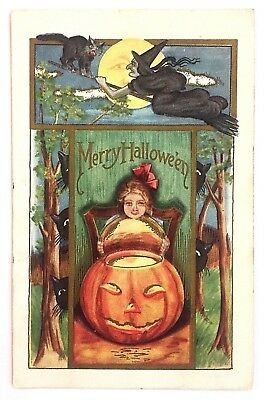 Antique Halloween Postcard Witch Flying Humanized Full Moon Black Cat Girl JOL