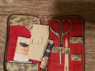 Antique Estate German Sewing kit. Embroidery Scissors with Ornate Handles