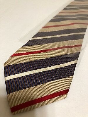 Hugo Boss Mens Necktie Silk Cotton Brown Striped Made In Italy Tie (C-91)