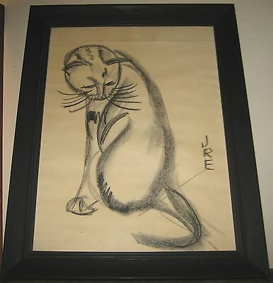 Mid-Century Crayon Painting Signed JRE Modern Siamese Cat Black Milled Frame