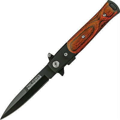 """Tac Force Assisted Opening Stiletto Folding Knife Wood Handle 4"""" Closed Tf-438Wb"""