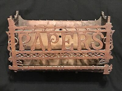 Antique Folk Art Tramp Art Wood Papers Wall Box Wall Pocket Letter Mail Holder