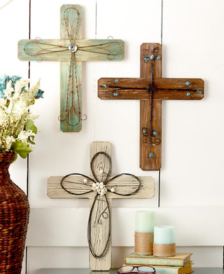 Wood and Metal Wall Religious Crosses Rustic Style Wall Art Medallion Home Decor
