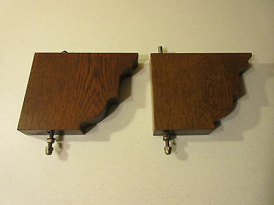 VINTAGE WOODEN BAR BRACKETS--SOLID WHITE OAK--SET OF 2--MADE IN GERMANY--1970s
