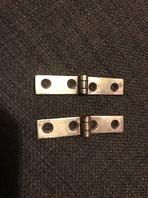 Pair of brass strap hinges for vintage or antique writing slope.