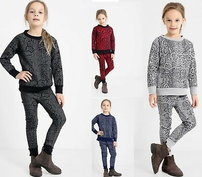 New Kids Girls Snake Leopard Print Tracksuit Top & Bottom Set Loungewear Suit