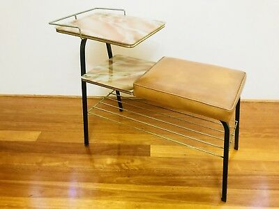 Vintage Retro Telephone Glass Top Side Table