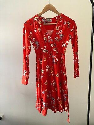ASOS Maternity Petite Red Floral Wrap Dress Size 6