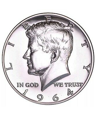 1964 Proof Kennedy Half Dollar, Accented Hair Variety, Impaired Coin, 50C Silver