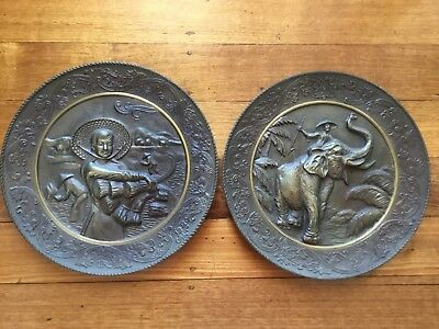 Pair Of Antique/vintage Solid Brass Decorative Wall Plates