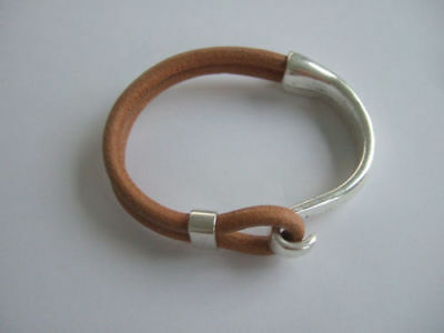 2/5Sets Silver Half Cuff Bracelet Hook Clasp Findings For 5mm Round Leather Cord
