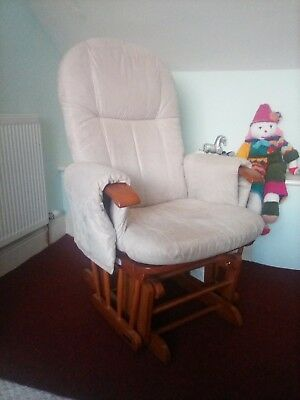 gliding nursery chair, beige, reclines, good condition