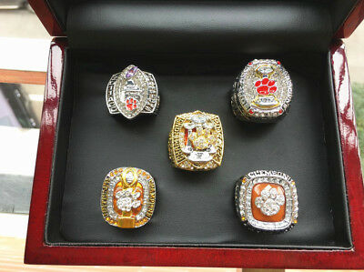 5 pcs Clemson Tigers National Championship Ring Set With Wooden Box Gift