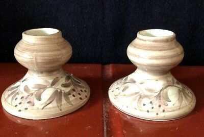 Pair Jersey Pottery Candlesticks / Candle Holders Brown & Cream.
