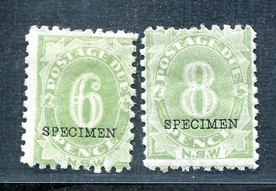 Australia New South Wales Nsw Postage Due 6 & 8 Pence Ovpt Specimen Mh