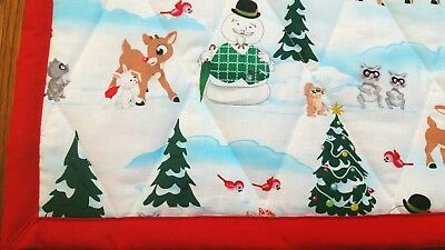 """Handmade """"Forest Xmas"""", 35x44in BABY/TODDLER XMAS THEME QUILTED BLANKET-GIFTIDEA"""