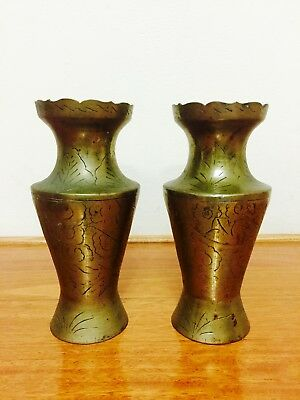 2 x Vintage Large Ornate Brass Vase