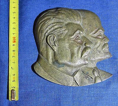 STALIN LENIN Bust BIG BRONZE Cast PLAQUE Old Soviet Russian WW2 Propaganda CCCP