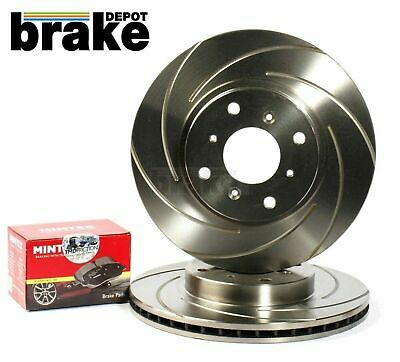 FRONT DRILLED AND GROOVED BRAKE DISCS MINTEX PADS SET FOR MAZDA MX5 1.8 94-00