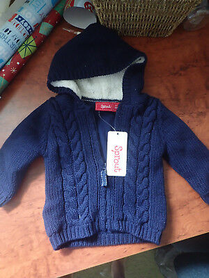 Sprout Baby Zip Cardigan Jumper with Hood. 00 3-6months Navy Blue Unisex