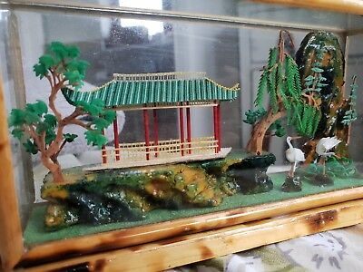 Minature Japanese Garden Scene Bamboo In Glass Case Handmade