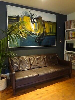 MID CENTURY MODERN BROWN LEATHER SOFA / SETTEE - Borge Mogensen