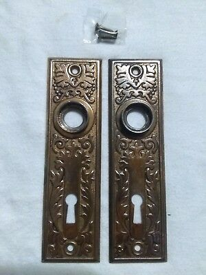 2  Antique / Vintage Victorian Matching Pressed Metal Door Knob Backplates