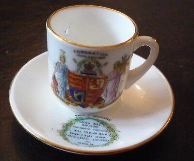 Rare Miniature King Edward Vii Coronation 1902 Cup & Saucer - Foley China