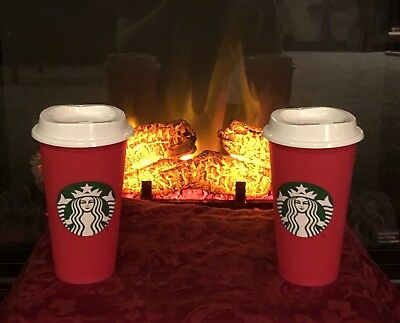Limited Edition: 2018 Red Starbucks Reusable 16oz Traveler Drinking Cups (2)
