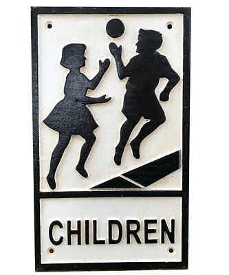 Children Playing Road Sign Warning Cast Iron Vintage Style Repro 1940s Plaque