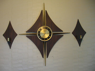 Mid Century Modern Wall Clock Wood Vintage Verichron with Wall Sconces Works!