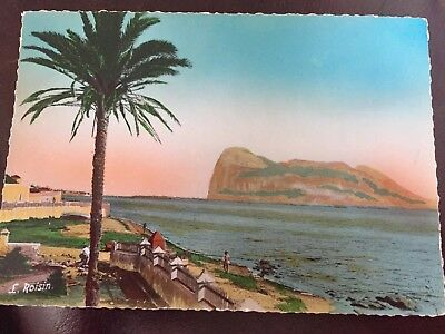 Vintage Postcard. Gibraltar. Artistic View Of Rock From Spanish Shores
