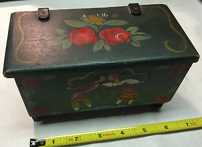 Vintage Antique Small WOODEN BOX Handmade Handpainted Lovers, heart & red roses