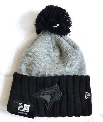 Toronto BLUE JAYS New Era Black BOBBLE Pompom Beanie Toque Hat Baseball canada