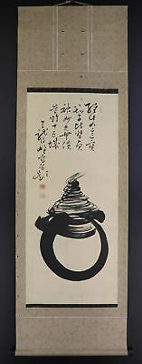 "JAPANESE HANGING SCROLL ART Painting ""Hoju"" Buddhism Asian antique  #E4775"
