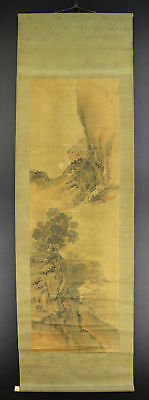 JAPANESE HANGING SCROLL ART Painting Sansui Landscape Asian antique  #E4770