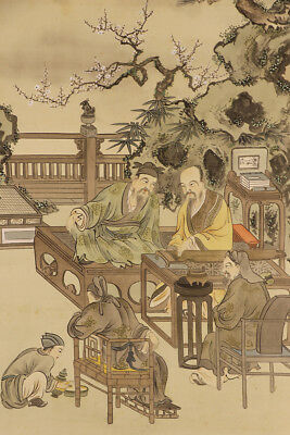 "JAPANESE HANGING SCROLL ART Painting ""Chinese wisemen"" Asian antique  #E4771"