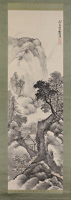 JAPANESE HANGING SCROLL ART Painting Sansui Landscape Asian antique  #E4782