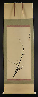 """JAPANESE HANGING SCROLL ART Painting """"Plum tree"""" Asian antique  #E4772"""