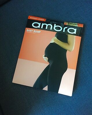 AMBRA Baby Bump Maternity Tights 70D Opaque Black - M Brand New In Box