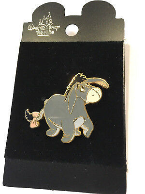 Disney Pin #7858-Gray Eeyore with Pink Bow on His Tail & His Left Ear Up