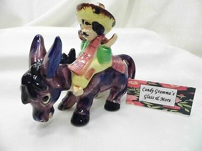 Vintage Ceramic Donkey Burrow with Rider Mexican