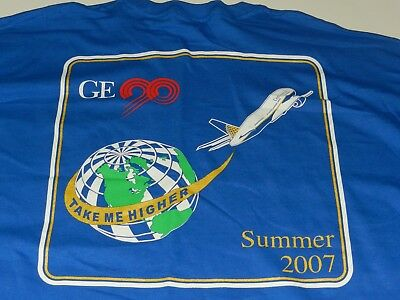 RARE EUC  2007 Continental Airlines/ GE 2-sided T Shirt with Pocket (2XL)