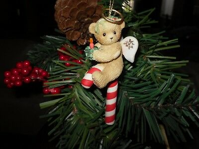 Cherished Teddies ornament bear with candle/ candy cane item # 4004617