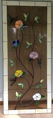"""Large beautiful custom made Stained Glass Panel 73"""" x 32"""" humming birds flowers"""